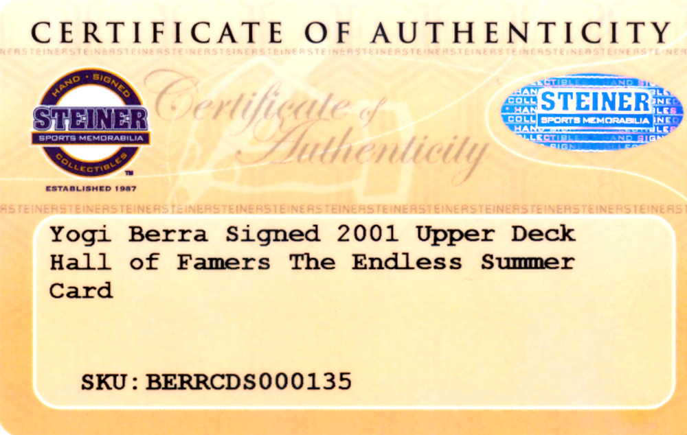 Yogi Berra Autographed Signed 2001 Upper Deck Hall Of Famers Card #45 New York Yankees - Certified Authentic Image a