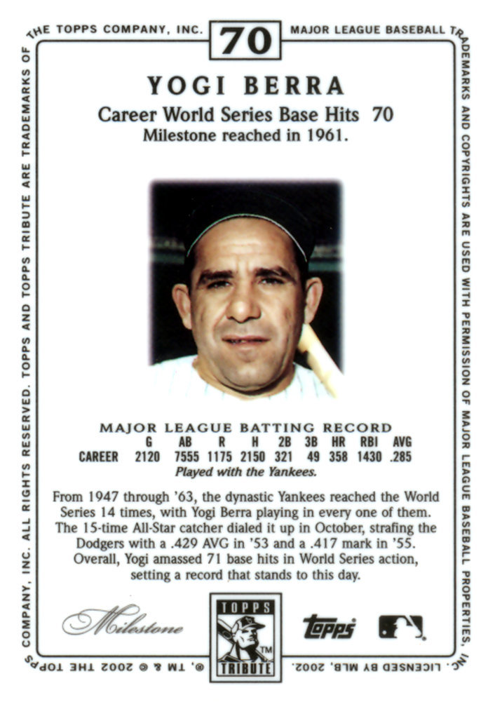 Yogi Berra Autographed Signed 2002 Topps Super Teams '61 Card #71 New York Yankees - Certified Authentic Image a