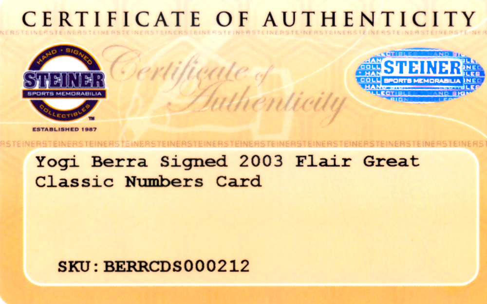 Yogi Berra Autographed Signed 2003 Donruss Studio Enshrinement Card #E-47 New York Yankees #108/750 - Certified Authentic Image a