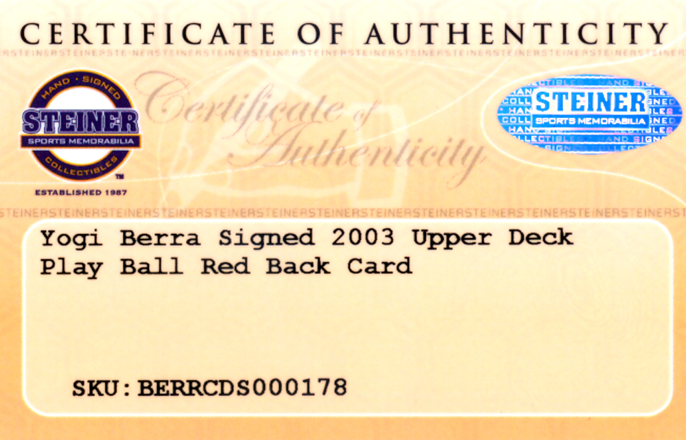 Yogi Berra Autographed Signed 2003 Upper Deck Play Ball Card #42 New York Yankees - Certified Authentic Image a