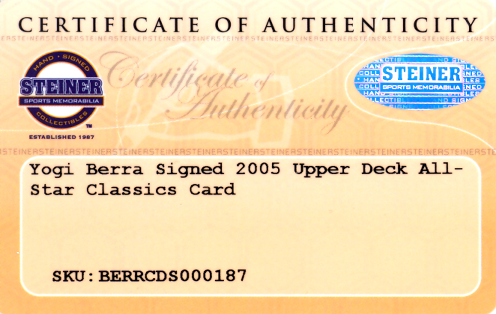 Yogi Berra Autographed Signed 2005 Upper Deck All Stars Classics Card #100 New York Yankees - Certified Authentic Image a