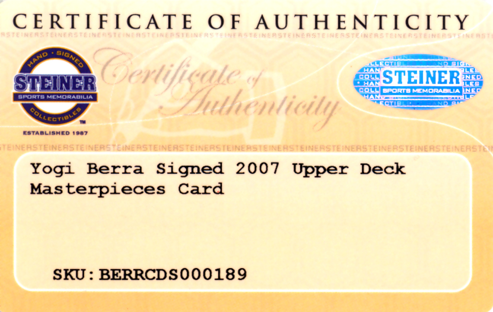 Yogi Berra Autographed Signed 2007 Topps Distinguished Service Card #DS2 New York Yankees - Certified Authentic Image a