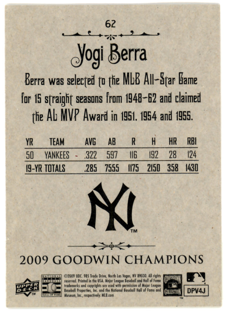 Yogi Berra Autographed Signed 2009 Upper Deck 4 in 1 Goudey Card #35-6 New York Yankees - Certified Authentic Image a
