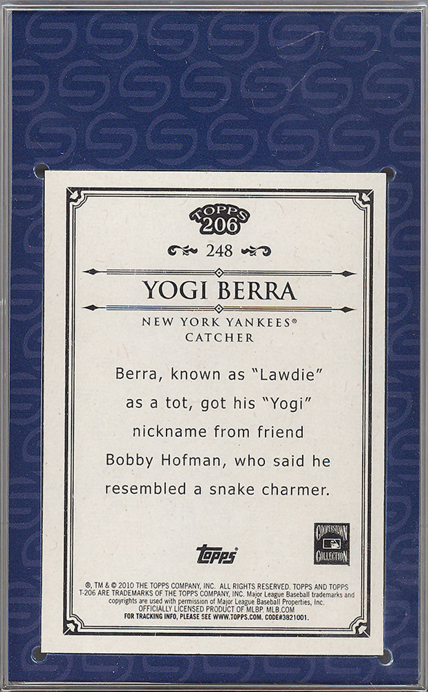 Yogi Berra Autographed Signed 2010 Topps 206 Card #248 New York Yankees Steiner Holo #SC000506 Image a