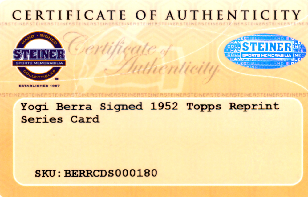 Yogi Berra Autographed Signed 1952 Topps Reprint Card #191 New York Yankees - Certified Authentic Image a