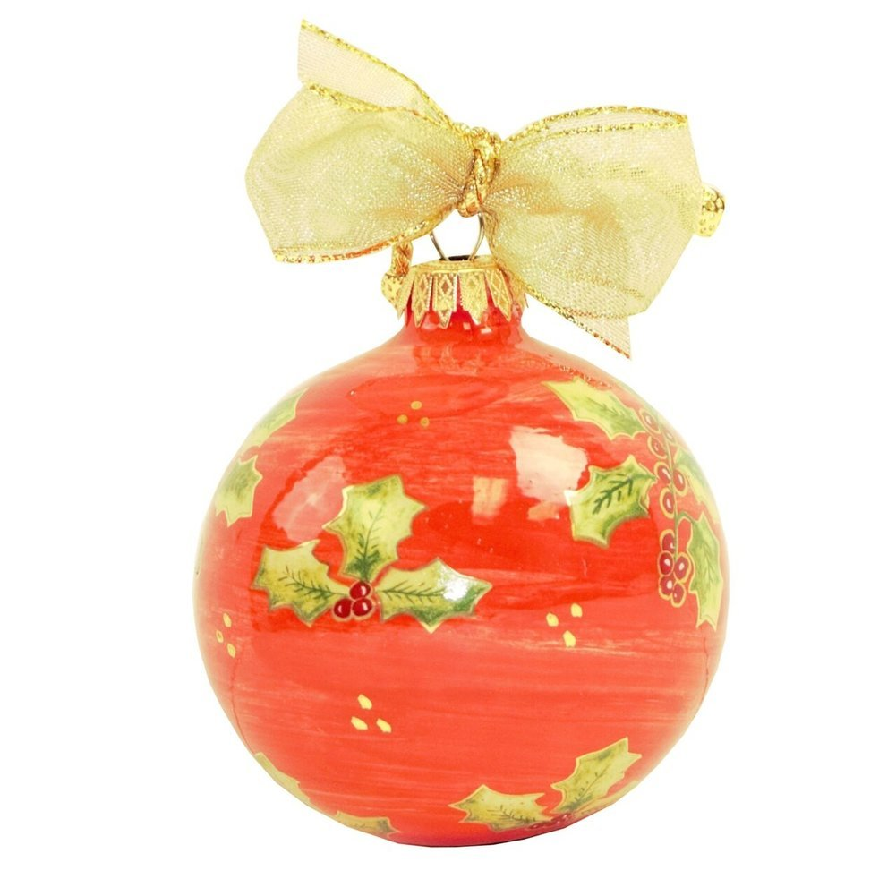 2020 Masters Red Handpainted Ceramic Holiday Ornament Image a