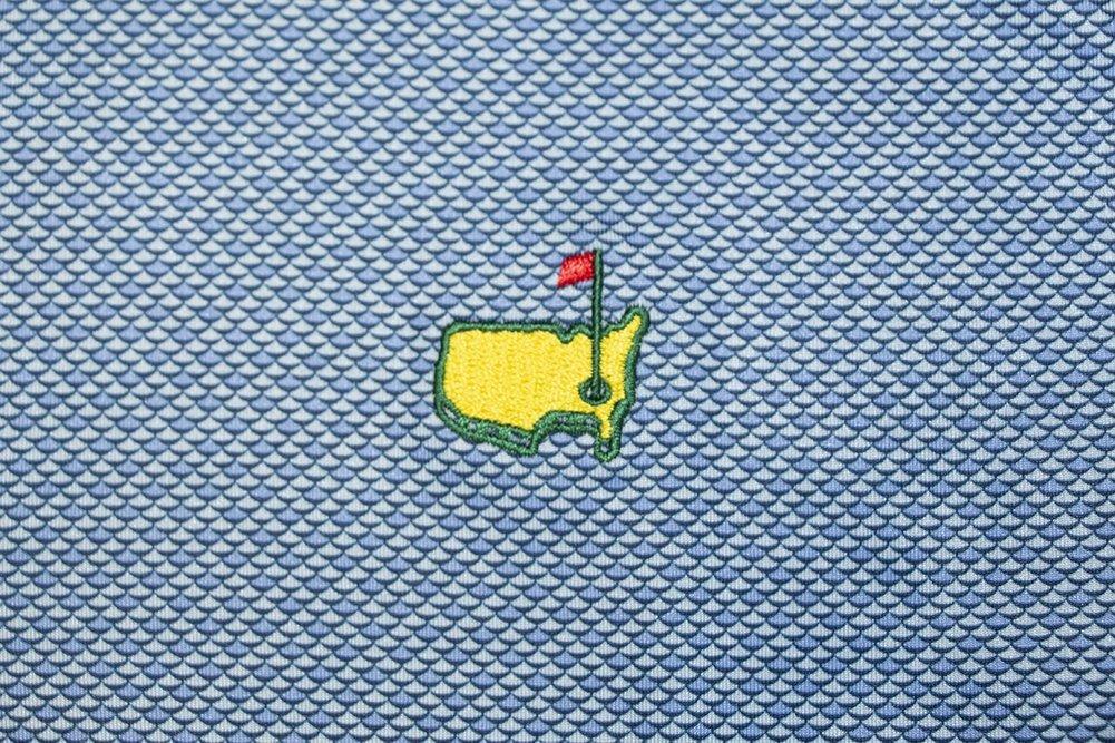 Peter Millar Masters Blue Wave Pattern Performance Tech Golf Shirt Image a