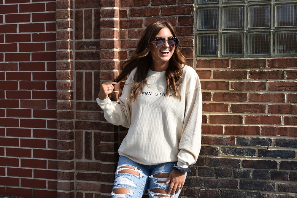 Penn State Embroidered Corded Crew Sweatshirt Oatmeal Image a