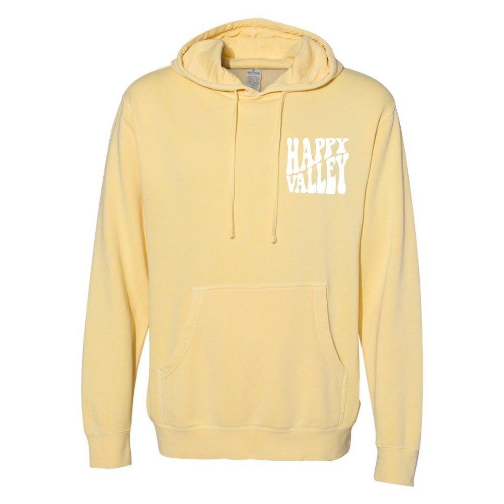 Happy Valley Retro Wavy Hooded Sweatshirt Light Yellow  Image a