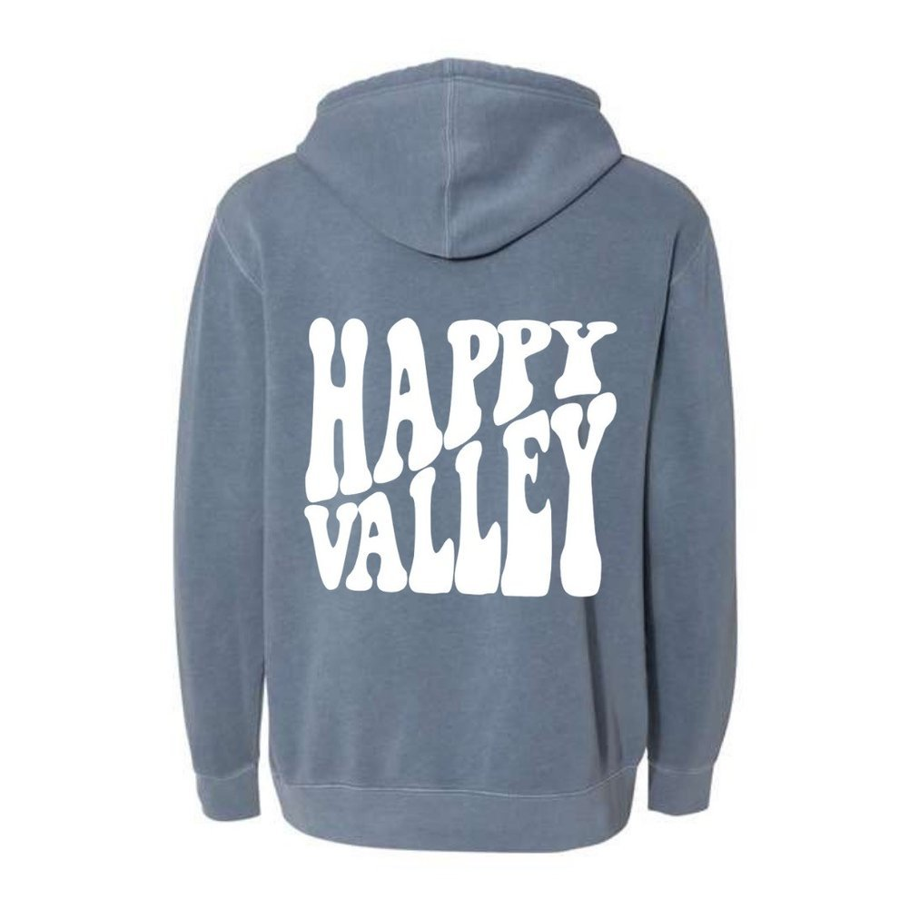Happy Valley Retro Wavy Hooded Sweatshirt Slate Blue Image a