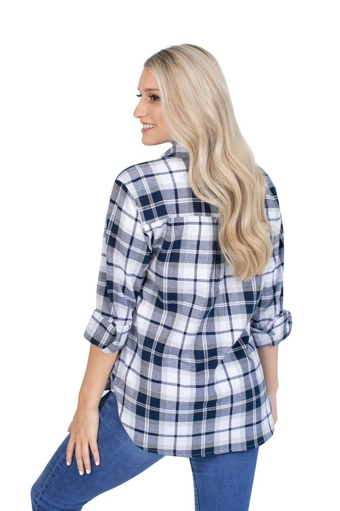 Penn State Nittany Lions Women's Boyfriend Plaid Flannel  Image a