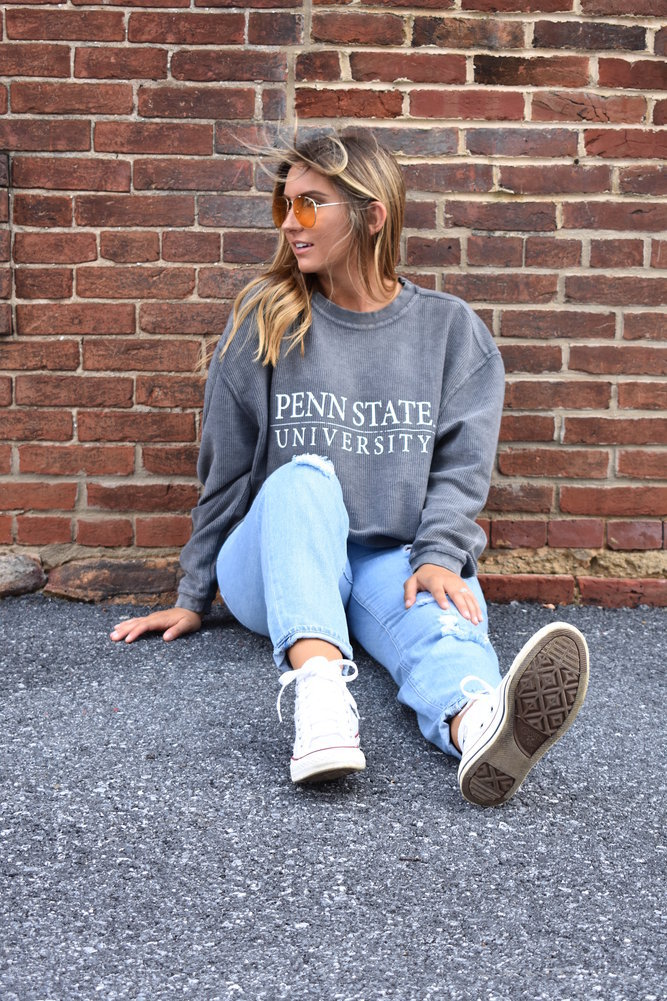 Penn State University Corded Crew Sweatshirt Charcoal Image a