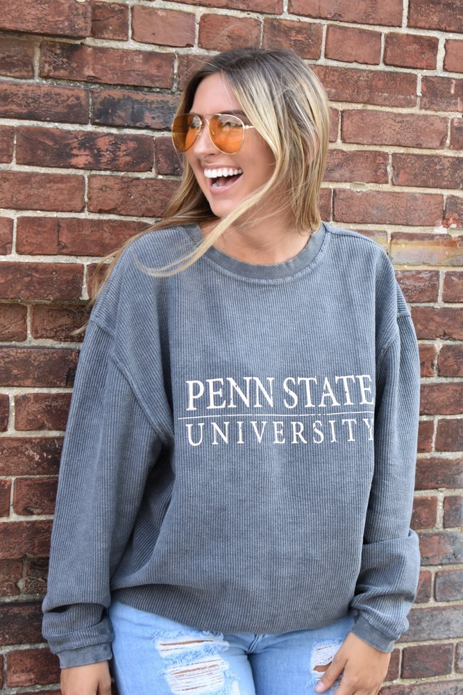 Penn State University Corded Crew Sweatshirt Charcoal
