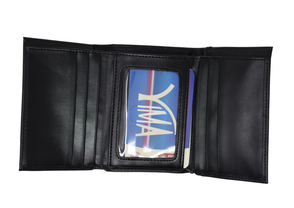 Penn State Vertical Bi-Fold Black Genuine Leather Wallet   Image a