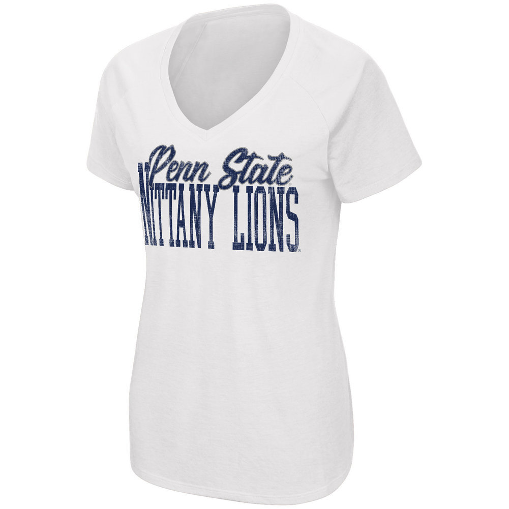 Penn State Women's Relaxed Fit White Scoop Neck Tee  Image a