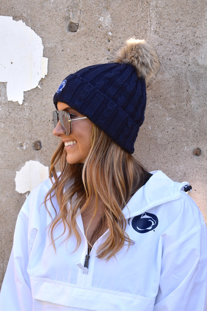 Penn State Womens Fur Pom Hat Navy Image a