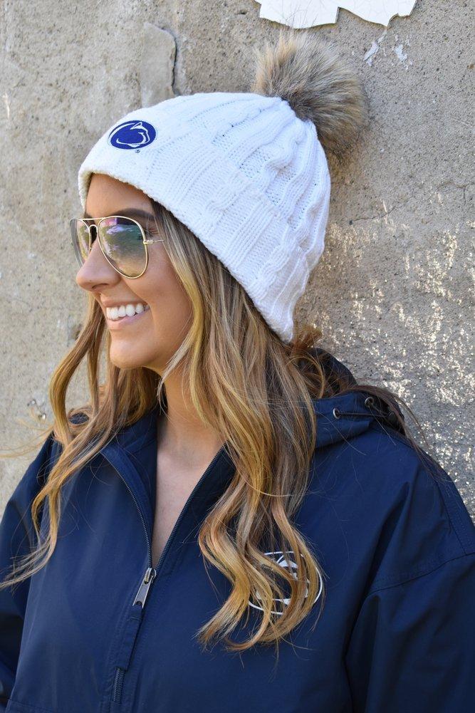 Penn State Womens Fur Pom Hat White Image a
