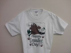 Adult Happy Groundhog Day T-Shirt (wht)2X 3X