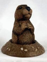 Ceramic Groundhog  in a Hole Statue