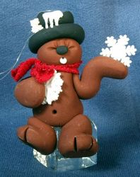 Clay Groundhog Ornament with Ice Cube