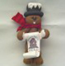 Clay Groundhog Ornament with Scroll
