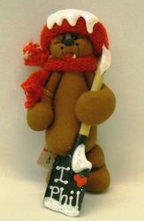 Clay Groundhog Ornament with Shovel