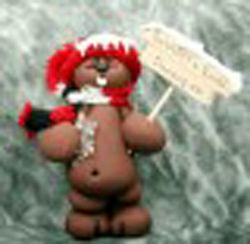 Clay Groundhog Ornament with Sign