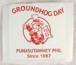 Groundhog Day Red & White Stickers