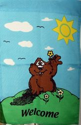 Groundhog Welcome Garden Flag