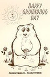Happy Groundhog Day Coloring Poster B