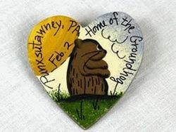 Ivory Groundhog Heart Pin