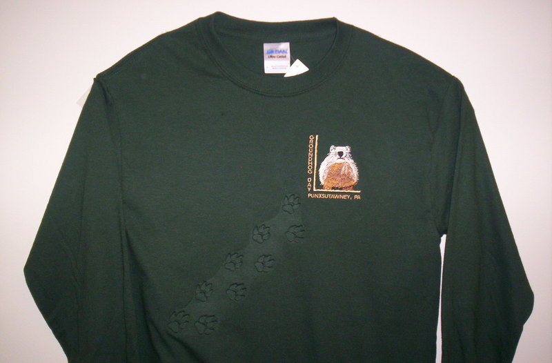 Adult Embossed Ghog longsleeve T Forest Green Sku# 1280-small Sku#1281-medium Sku#1282-large Sku#1283-xlarge