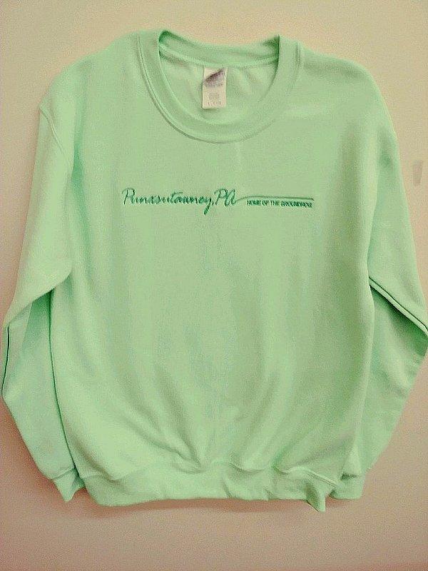 Adult embroidered Punxsutawney Sweatshirt Sku#2040-small sku# 2041-medium Sku#2042-large Sku# 2043-xlarge