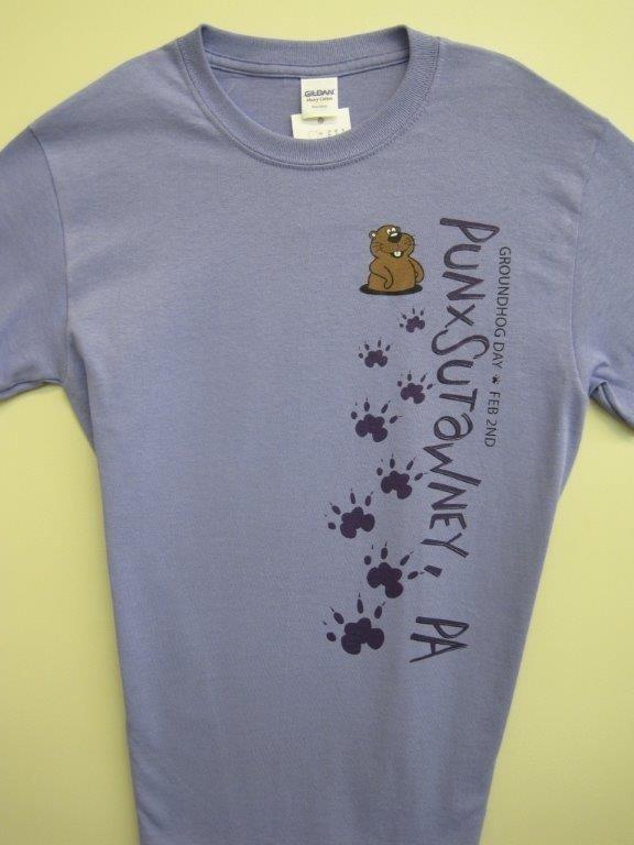 Adult Groundhog Paw T-Shirt Violet Sku#751-small Sku#752-medium Sku#753-large Sku#754-xlarge