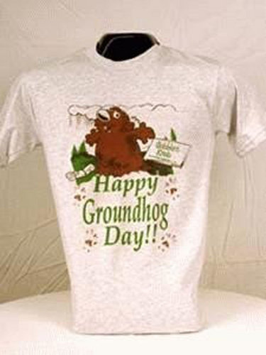 Adult Happy Groundhog Day T-Shirt Sku#698-small Sku#699-medium Sku#700-large Sku#701-xlarge
