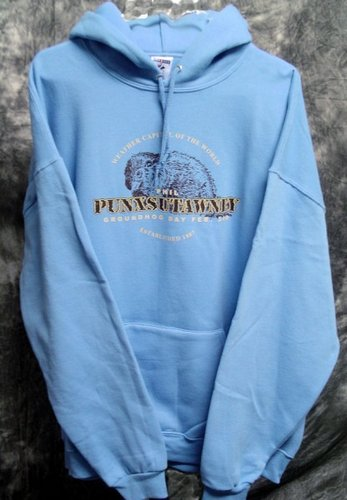 Adult Punxsutawney Phil Hooded Sweatshirt Sku# 543-small Sku# 544-medium Sku#545-large Sku# 546-xlarge
