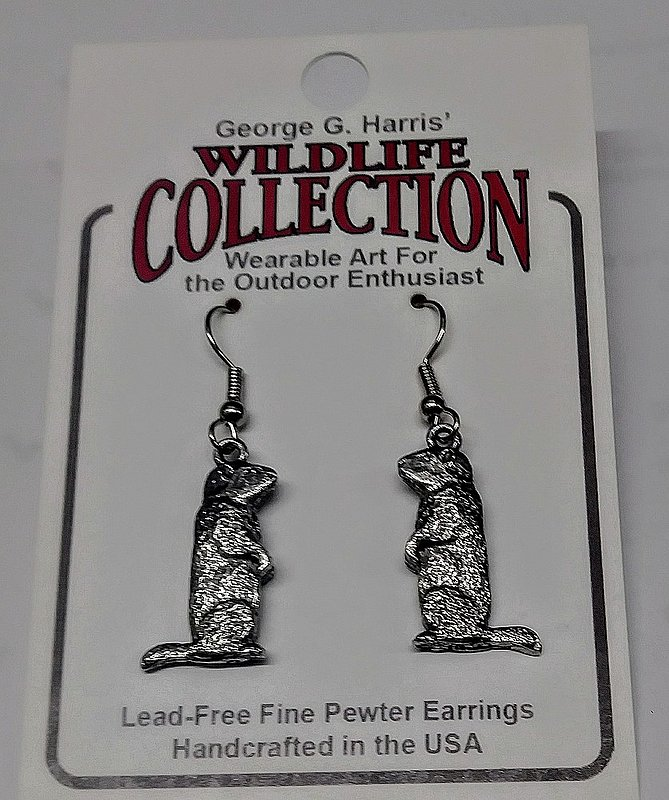 Dangle pewter groundhog earrings Sku#2133