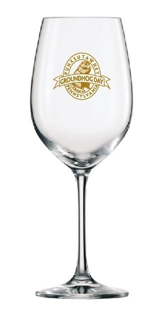Ghog Day Gold Print Wineglass Sku#1719