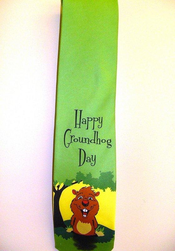 Happy Groundhog Day Tie Sku#1488