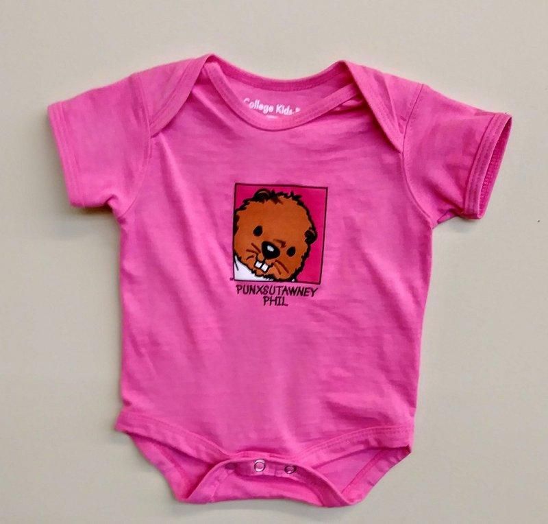 Infant Baby Phil Onesie Short Sleeve-Pink Sku # 58- 0-3 mos. Sku # 59- 6 mos. Sku # 60- 12mos Sku # 61- 18 mos