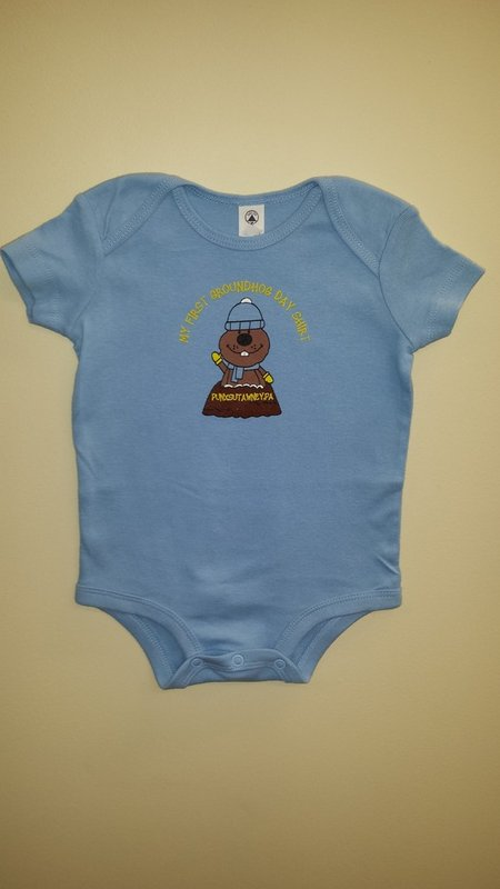 Infant Boys 1st Ghog Day Onesie Sku # 1362- 6 mos. Sku#- 1363-12mos Sku# 1364- 18 mos.
