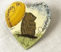 Ivory Groundhog Heart Magnet