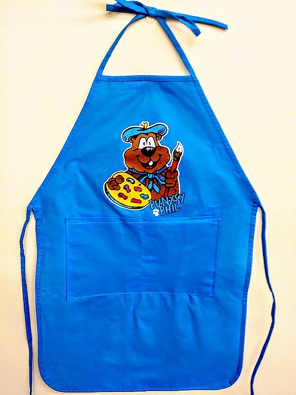 Kids Groundhog Paint Apron Sku#2013-red Sku#2014green Sku#2015-blue Sku#2016-yellow