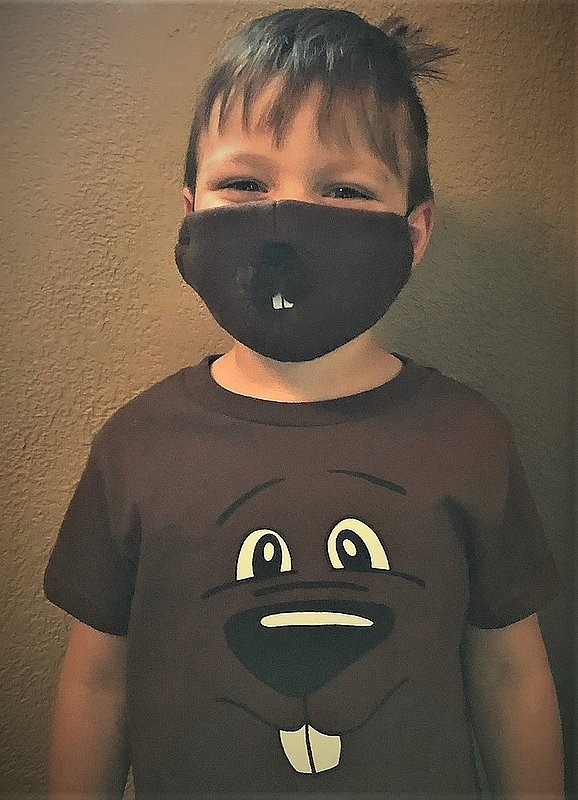 Kids Stay Well Ghog Mask Mask-Sku#2164 Groundhog face tshirt also available infant,toddler, youth