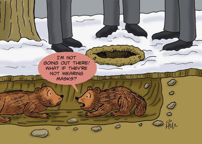Mask On? Groundhog Day Greeting Card sku#2317