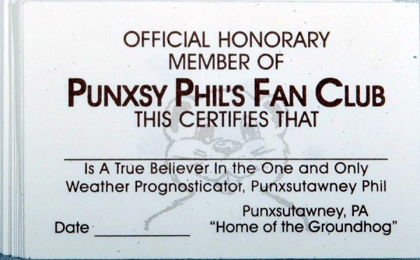 Official Punxsutawney Phil Fan Club Cards (20pk) Sku# 273