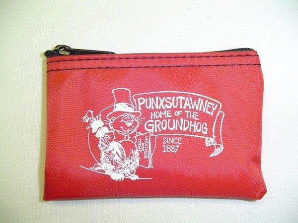 Punxsutawney Phil Zipper Coin Purse-Red Sku# 283