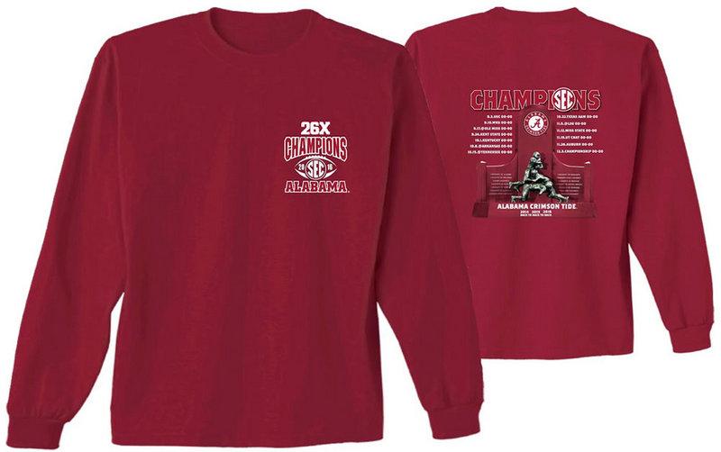 Alabama Crimson Tide SEC Champs Long Sleeve TShirt 2016 SEC FB Champ 16 Recap ALA
