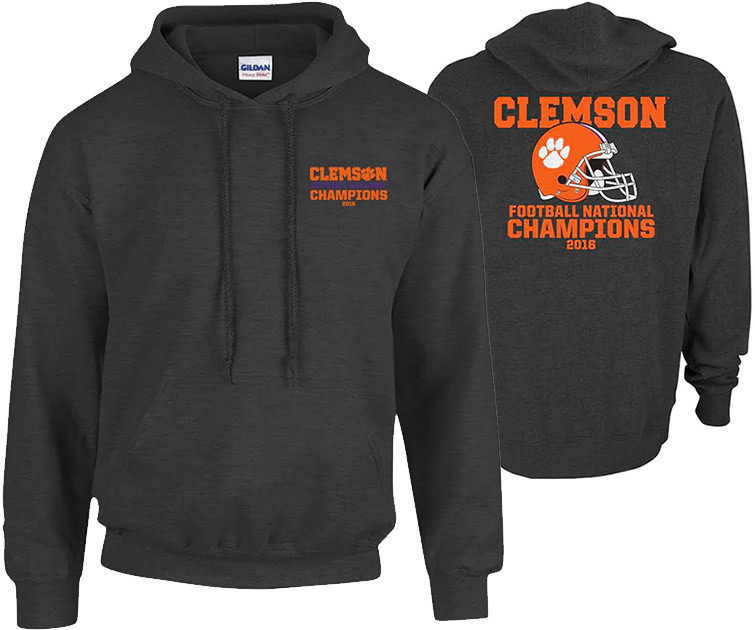Clemson Tigers 2016 National Champions Hooded Sweatshirt Charcoal (2017 championship) P0007183 & P0007070