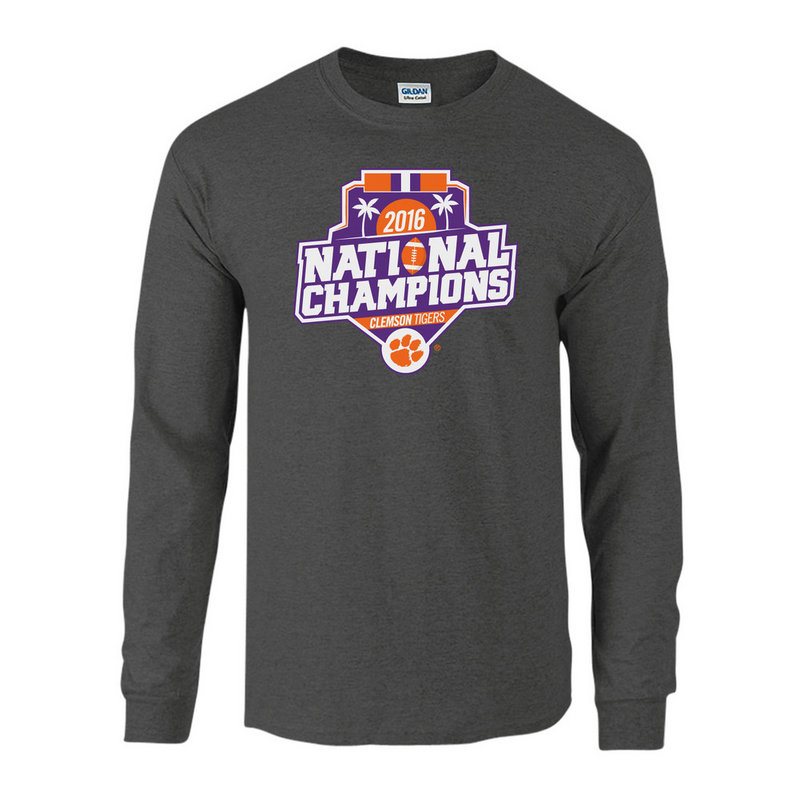 Clemson Tigers 2016 National Champions Long Sleeve TShirt Charcoal (2017 championship) P0007179